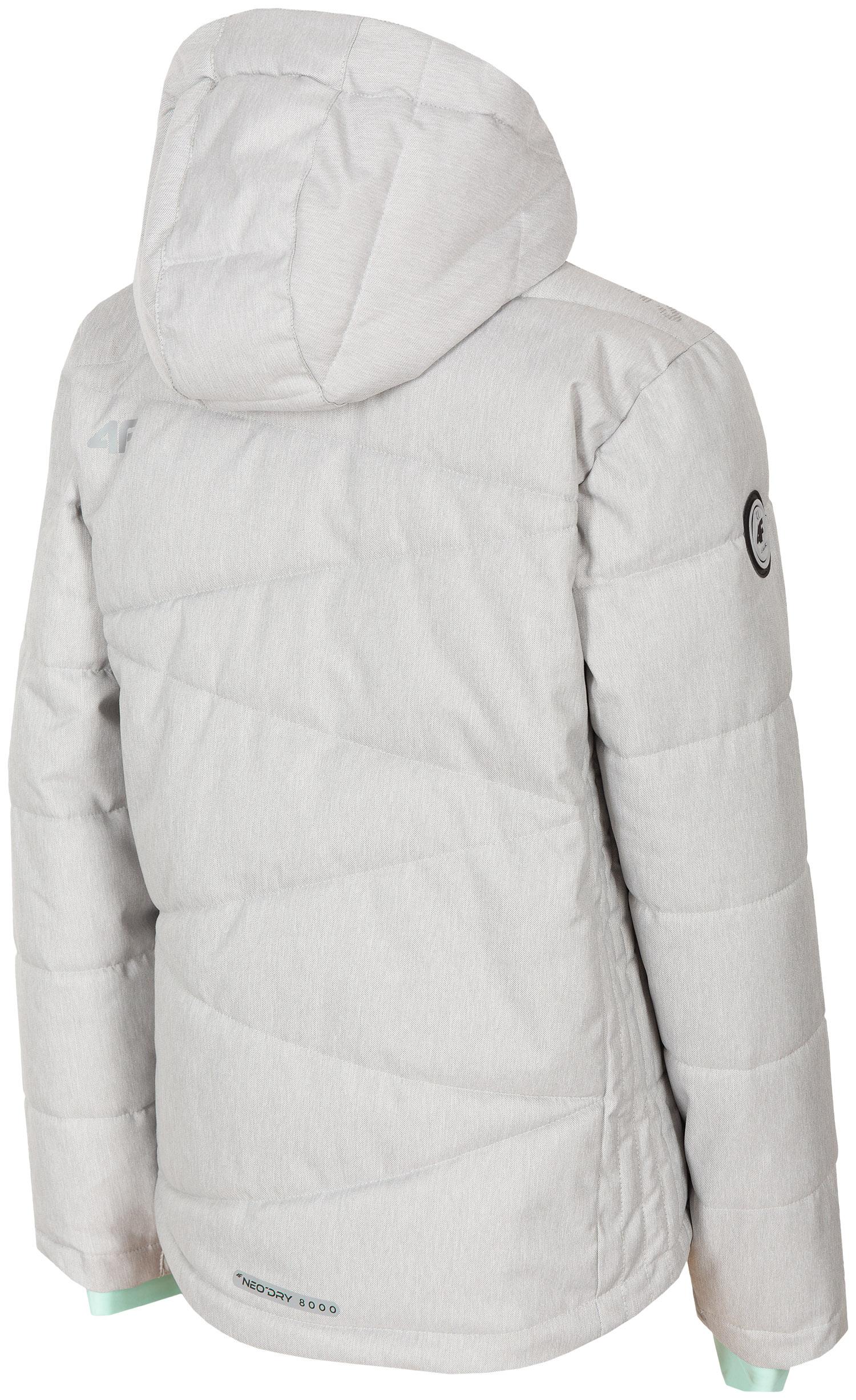 df5f135d5 Lyžiarska bunda pre staršie deti (dievčatá) JKUDN400 - šedá melanž
