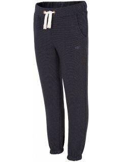 Teplákové nohavice pre mladšie dievčatká JSPDD100 - tmavomodrá