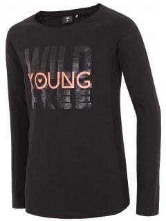 Tričko s dlhým rukávom pre mladšie dievčatká jtsdl104 - čierna