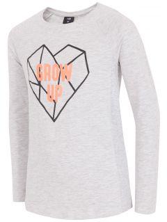 Tričko s dlhým rukávom pre mladšie dievčatká jtsdl104a - svetlá šedá
