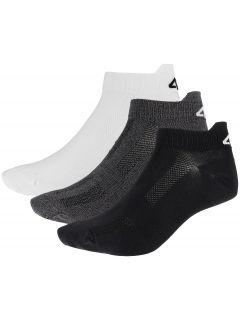 Pánske ponožky SOM253 - biela+stredne šedá melanž+čierna