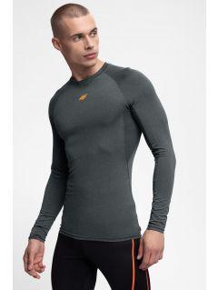 Pánske tréningové tričko s dlhým rukávom TSMLF300 - šedá melanž
