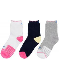 Ponožky pre dievčatá 3 páry (30-38) JSOD201 - biela+tmavomodrá+šedá melanž