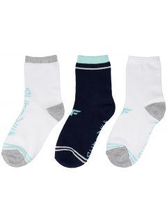 Ponožky pre dievčatá (30-38) JSOD204 - šedá melanž+tmavomodrá+biela