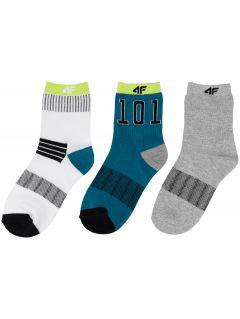 Ponožky pre chlapcov (30-38) JSOM401 - biela+zelená+šedá