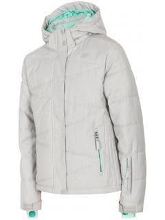Lyžiarska bunda pre staršie deti (dievčatá) JKUDN400 - šedá melanž