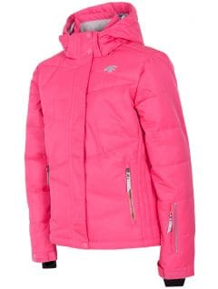 Lyžiarska bunda pre staršie deti (dievčatá) JKUDN400 - fuksiová
