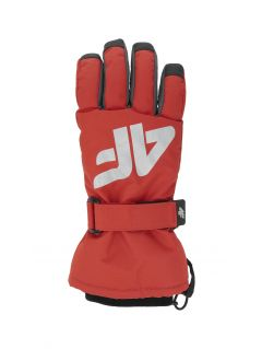 Lyžiarske rukavice pre staršie deti (chlapcov) JREM404 – červená