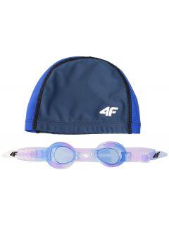 Plavecká čiapka + okuliare pre staršie deti (dievčatá) JSETD400 – tmavomodrá