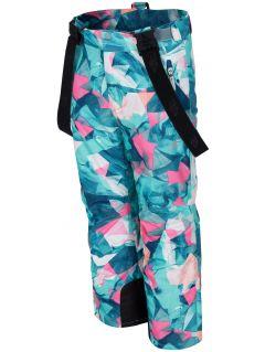Lyžiarske nohavice pre mladšie deti (dievčatá) JSPDN302 - mätová melanž