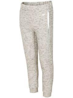 Športové nohavice pre staršie deti (dievčatá) JSPDTR400 - svetlošedá melanž