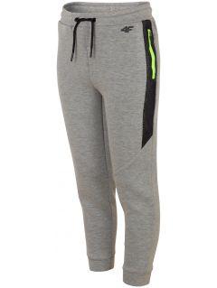 Športové nohavice pre staršie deti (chlapcov) JSPMTR401 - svetlošedá melanž