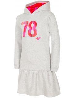 Šaty pre staršie deti (dievčatá) JSUDD208 - svetlošedá melanž