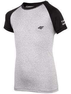 Športové tričko pre staršie deti (chlapcov) JTSM400 - svetlošedá melanž