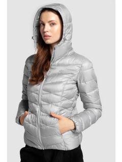 Dámska bunda so syntetickou výplňou KUDP211 – strieborná