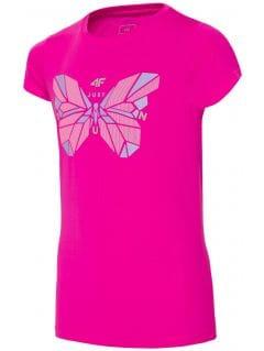 Športové tričko pre staršie deti (dievčatá) JTSD401A - tmavoružová