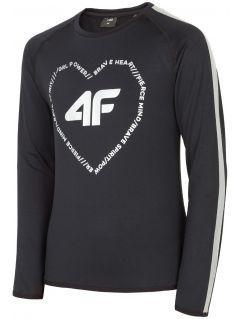 Športové tričko s dlhým rukávom pre staršie deti (dievčatá) JTSDL400 – čierna