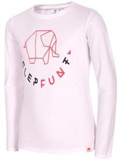 Tričko s dlhým rukávom pre mladšie dievčatká JTSDL102A - biela