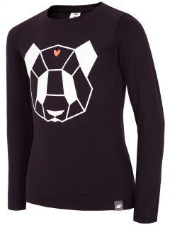 Tričko s dlhým rukávom pre mladšie dievčatká JTSDL102A - čierna