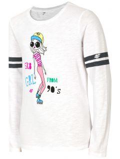 Tričko s dlhým rukávom pre mladšie dievčatká JTSDL106a - biela