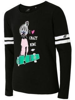 Tričko s dlhým rukávom pre mladšie dievčatká JTSDL106 - čierna
