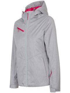 Dámska lyžiarska bunda KUDN302 - svetlošedá melanž