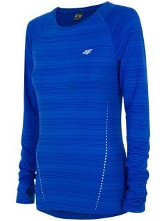 Dámske tréningové tričko s dlhým rukávom TSDLF300 - kobaltová modrá melanž