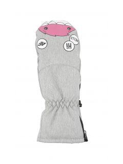 Lyžiarske rukavice pre mladšie deti (dievčatá) JRED300 - svetlošedá melanž