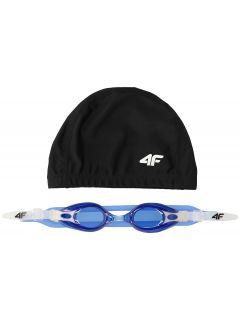 Plavecká čiapka + okuliare pre staršie deti (chlapcov) JSETM400 – tmavomodrá