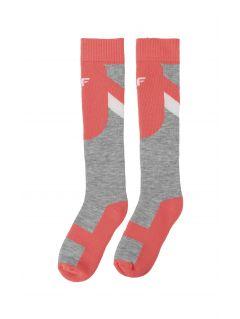 Lyžiarske ponožky pre staršie deti (dievčatá) JSODN400 – neónová koralová