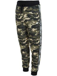 Teplákové nohavice pre staršie deti (chlapcov) JSPMD213 - kaki melanž