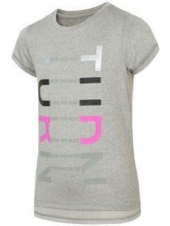 Športové tričko pre staršie deti (dievčatá) JTSD401 - svetlošedá melanž