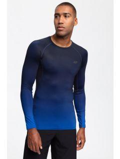 Pánske tréningové tričko s dlhým rukávom TSMLF200 - tmavomodrá allover