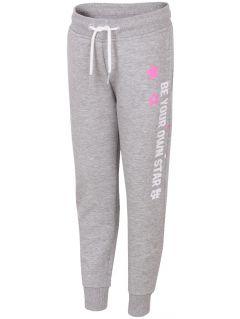 Teplákové nohavice pre mladšie deti (dievčatá) JSPDD103 - svetlošedá melanž