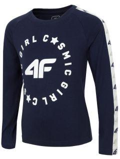 Tričko s dlhým rukávom pre mladšie deti (dievčatá) JTSDL103 - tmavomodrá