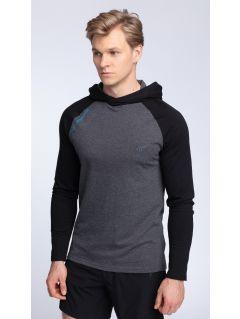 Pánske tričko s dlhým rukávom TSML002 - tmavošedá melanž