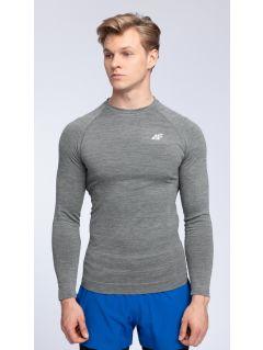 Pánske tréningové tričko s dlhým rukávom TSMLF002  - stredne šedá melanž